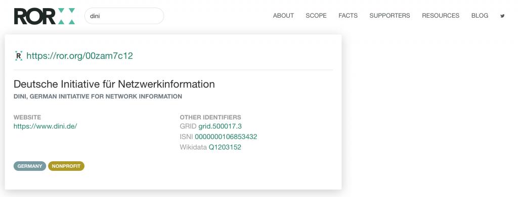 ROR Website Suche