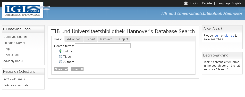 IGI-Global  TIB und Universitaetsbibliothek Hannover's Database Search