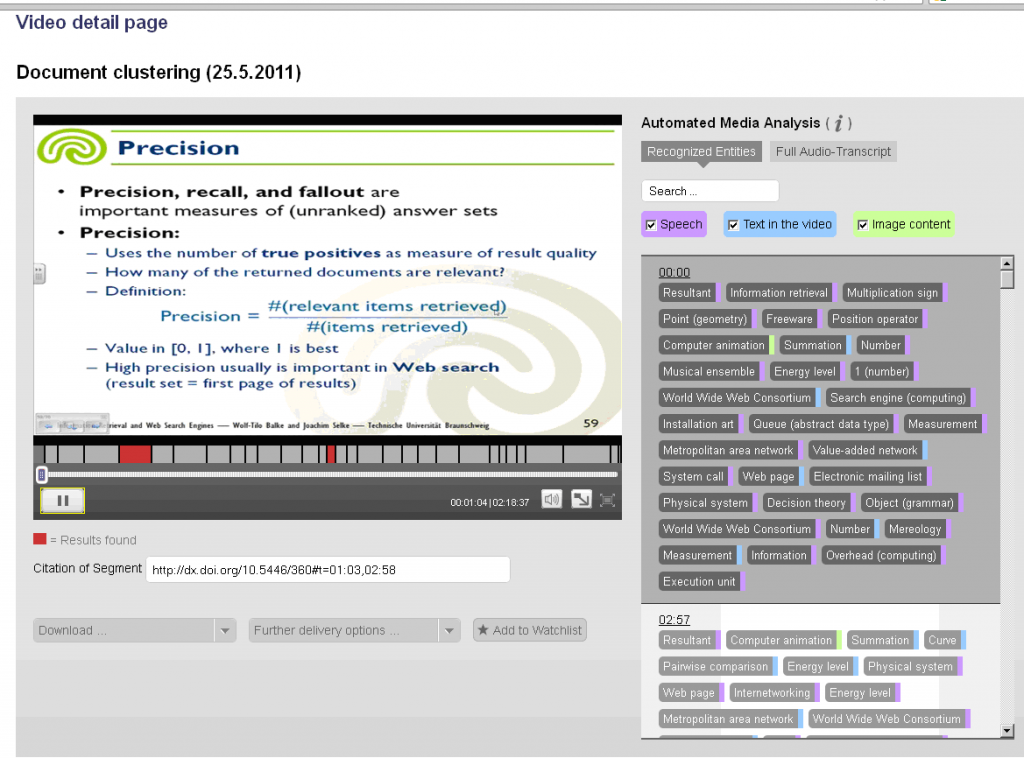 Englische Ansicht des TIB|AV-Portals zeigt ins Englische übersetzte GND-Sachbegriffe auf der rechten Seite