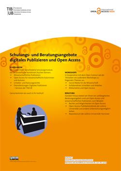 Schulungs- und Beratungsangebote digitales Publizieren und Open Access. Poster als PDF-Datei.