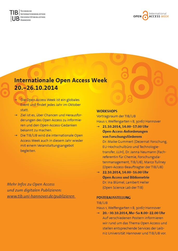Internationale Open Access Week 2014 - Veranstaltungen der TIB/UB