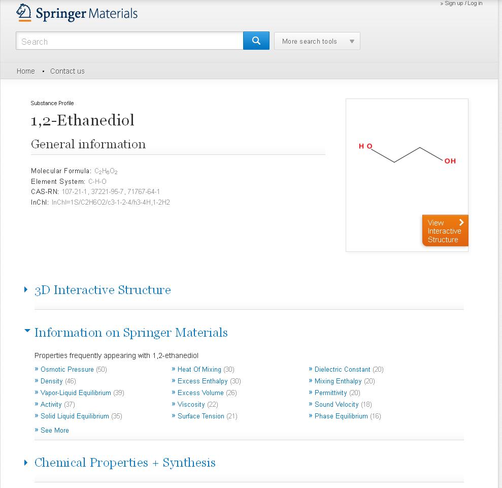 SpringerMaterials: Substance Profile 1,2-Ethanediol
