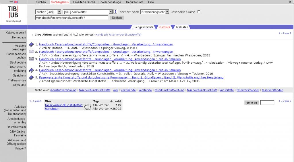 Suche nach Handbuch Faserverbundstoffe im TIB/UB-Katalog