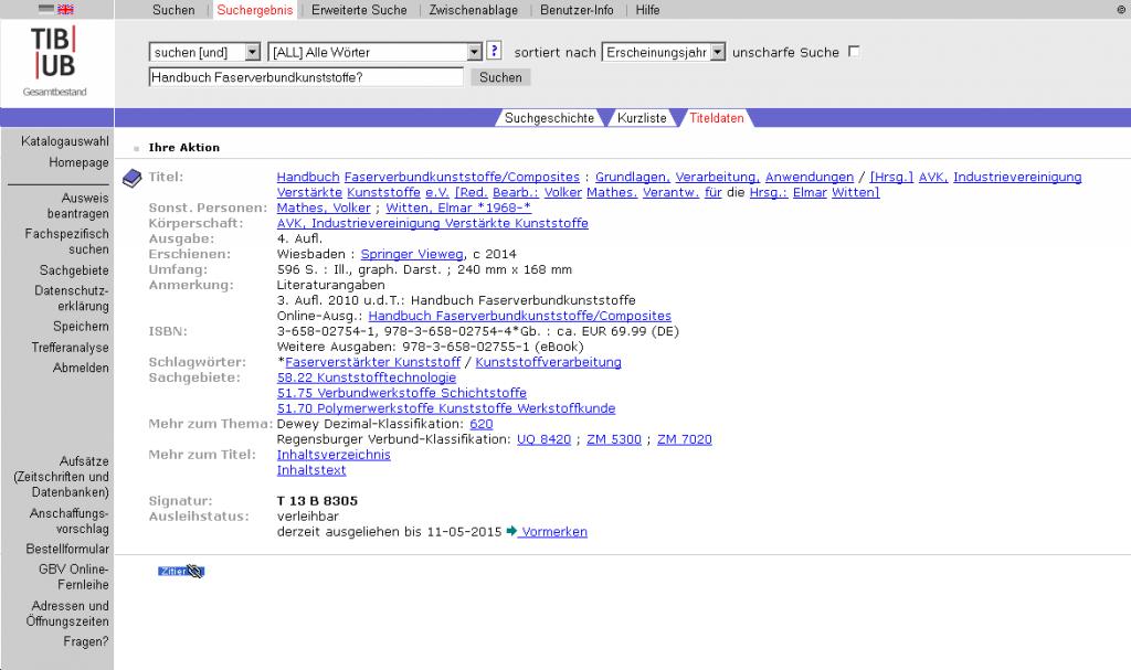 Katalogeintrag zum Handbuch Faserverbundstoffe