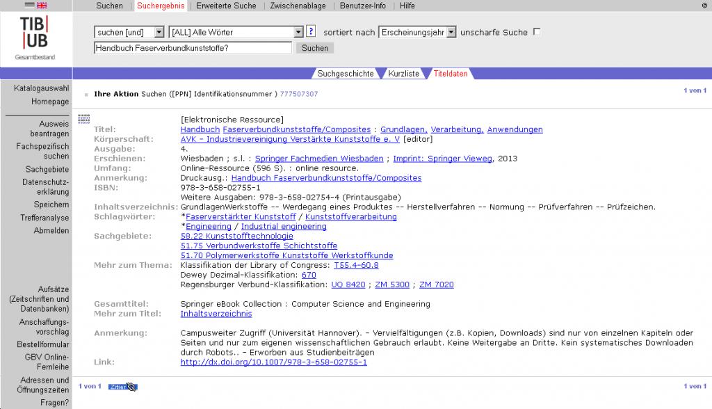 Katalogeintrag der elektronischen Version des Handbuchs Faserverbundstoffe