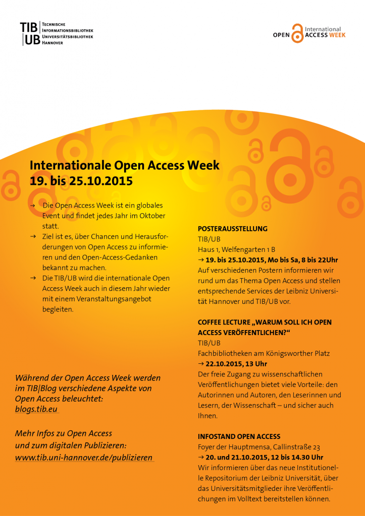 Open Access Week 2015 an der TIB/UB