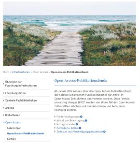 Webseite zum Leibniz-Publikationsfonds