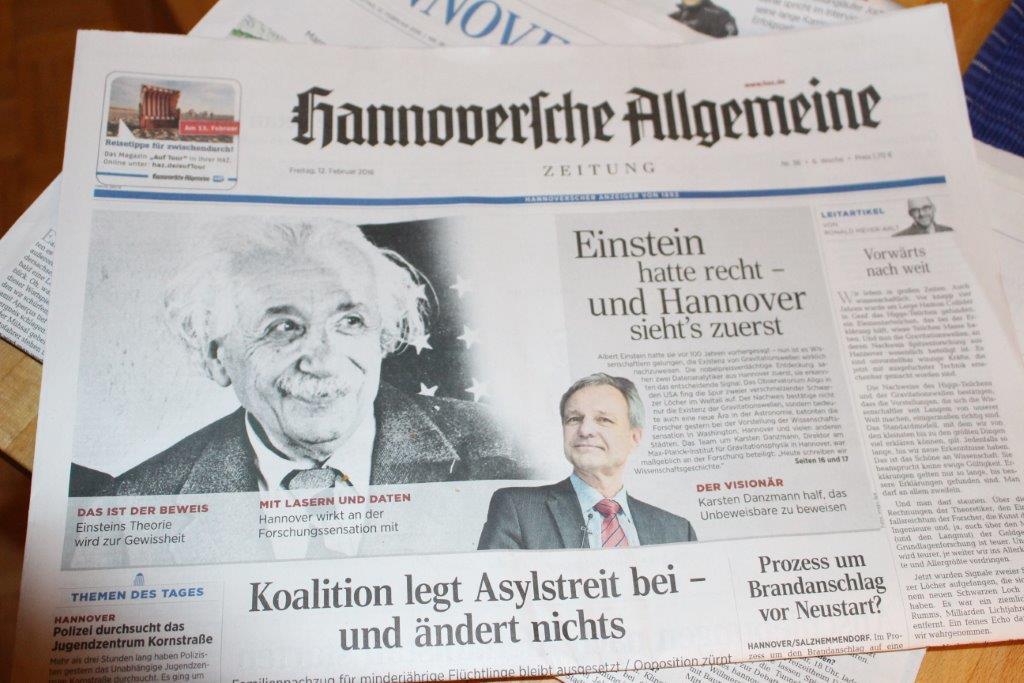 Titelblatt der Hannoverschen Allgemeinen Zeitung vom 12.02.2016