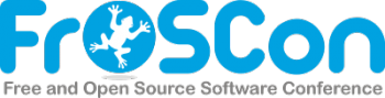 "The FrOSCon logo. Blue text saying ""FrOSCon"" depicting a white frog in the first O. Below in grey the words ""Free and Open Software Conference""."