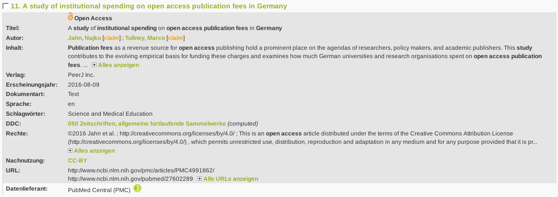 Hits without link to ORCID