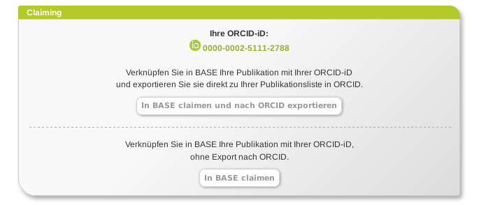 The publication can be linked to your own ORCID ID. It can additionally be reported to ORCID for inclusion in your own profile.
