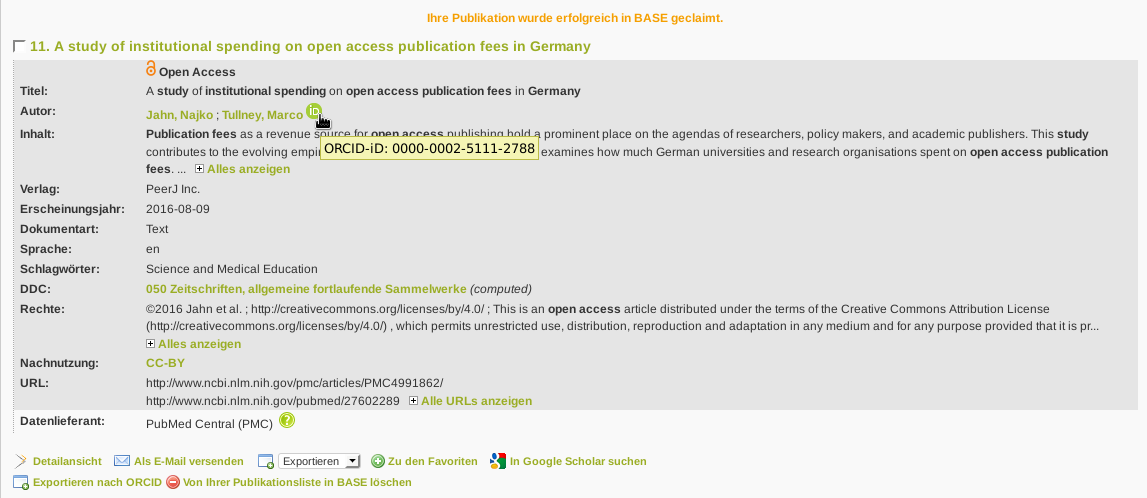 The contributor's details now contain an ORCID symbol and a link to the author's ORCID profile.