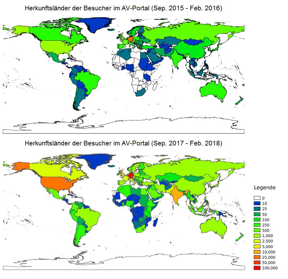 Zwei Weltkarten mit farbkodierten Benutzerzahlen pro Land. Die obere Weltkarte zeigt die Zahlen für den Zeitraum Sep.15-Feb.16, die untere für Sep.17-Feb.18.