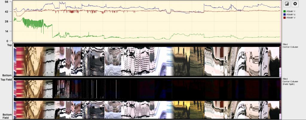 Tiled Center Column zeigt ein Bild an, welches ab dem zweiten Drittel merklich an Farbe verliert, Tiled Center Column Field Split zeigt zwei Reihen an: bei der obersten reihe ist das Bild im zweiten Drittel schwarz, in der unteren Reihe durchgängig farblich.