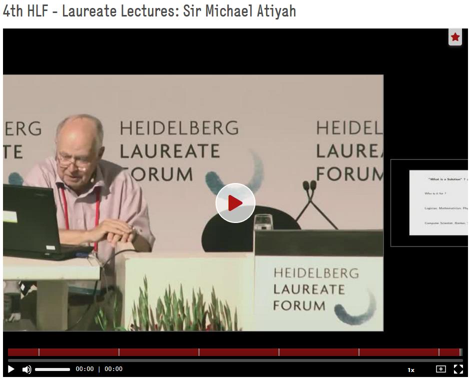 Atiyah, Michael: 4th HLF - Laureate Lectures: Sir Michael Atiyah, 4th Heidelberg Laureate Forum (HLF), 2016. https://doi.org/10.5446/40103