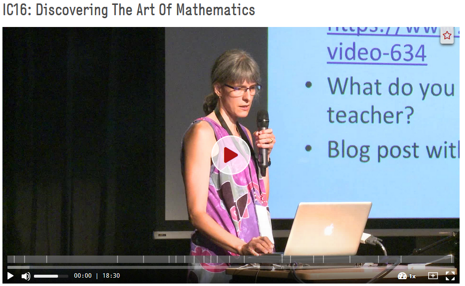 Renesse, Christine von: IC16: Discovering The Art Of Mathematics, Folge 3, Imaginary Conference 2016. https://doi.org/10.5446/33854