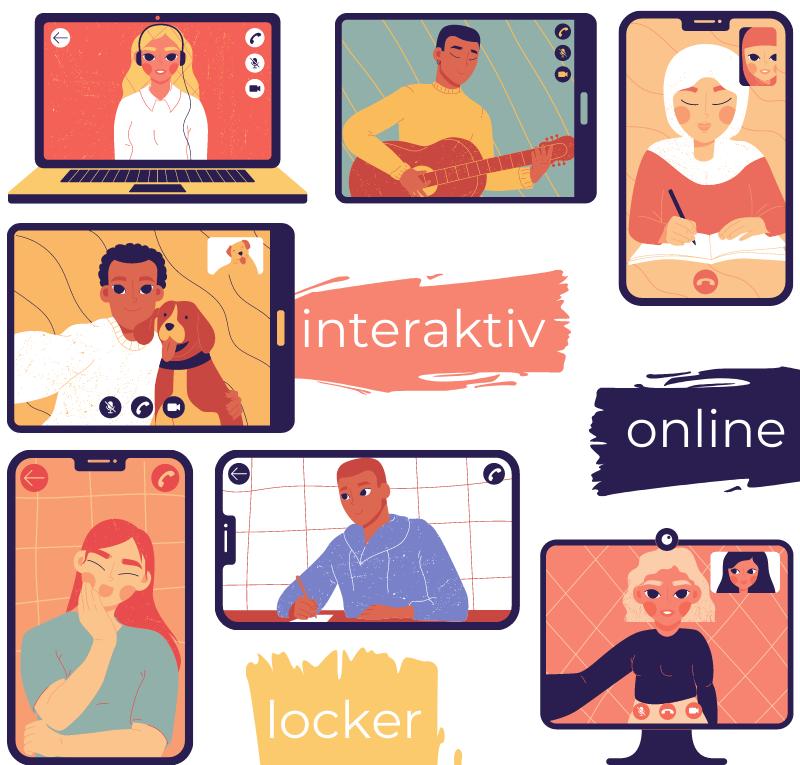 Bilder von Teilnehmenden auf unterschiedlichen Geräten und Stichworte: interaktiv, online, locker