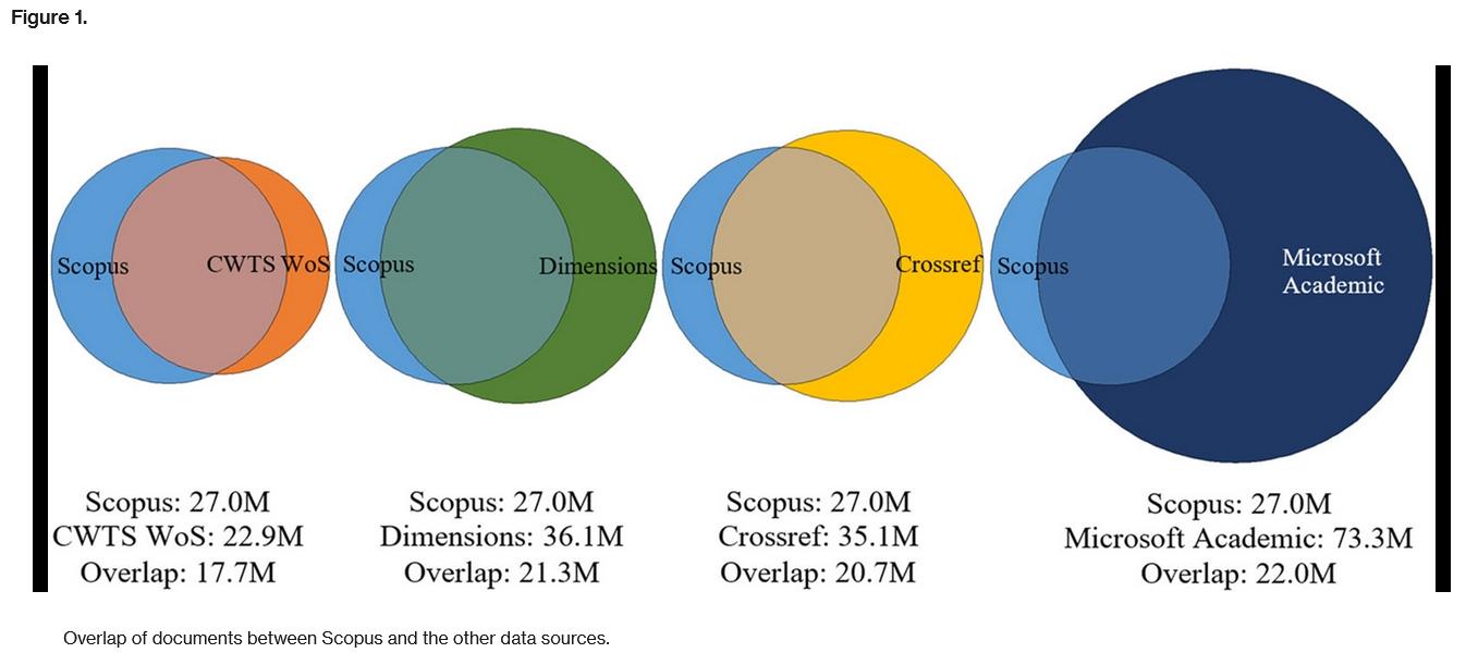 Überlappung von Dokumenten zwischen Scopus, Dimensions, Crossref und Microsoft Academic