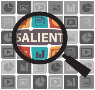 A magnifying glass zooms in on the word SALIENT.